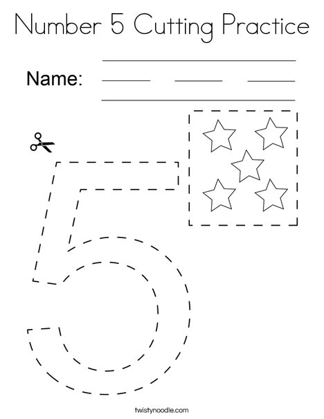Number 5 Cutting Practice Coloring Page