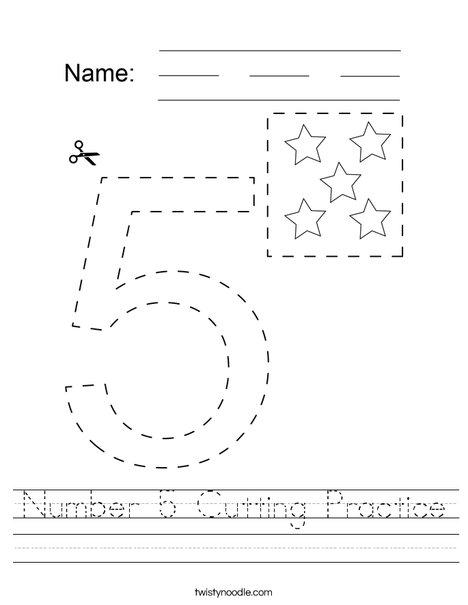 Number 5 Cutting Practice Worksheet