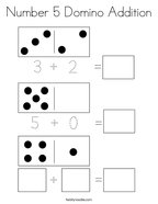 Number 5 Domino Addition Coloring Page