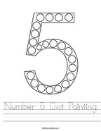Number 5 Dot Painting Handwriting Sheet