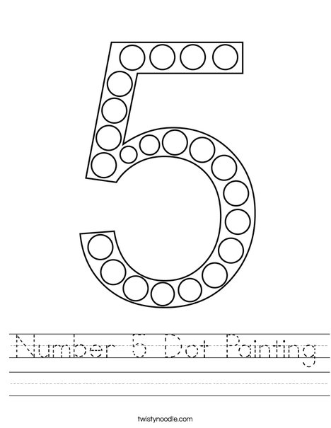 Number 5 Dot Painting Worksheet