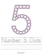 Number 5 Dots Handwriting Sheet