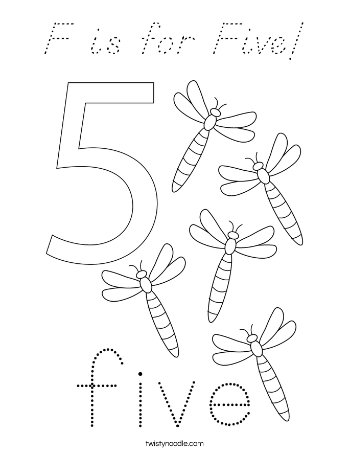 F is for Five! Coloring Page