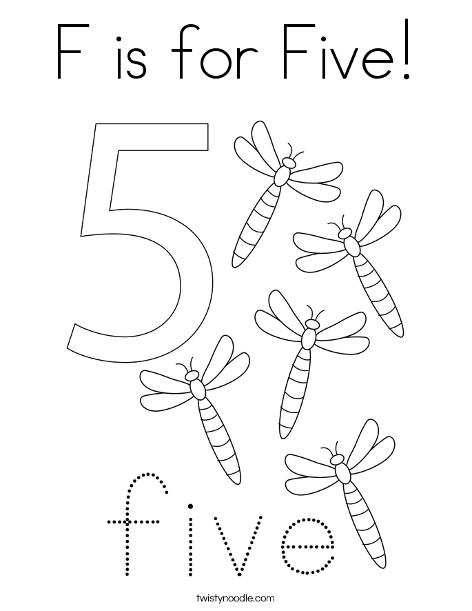 F is for five coloring page twisty noodle for Number 5 coloring page