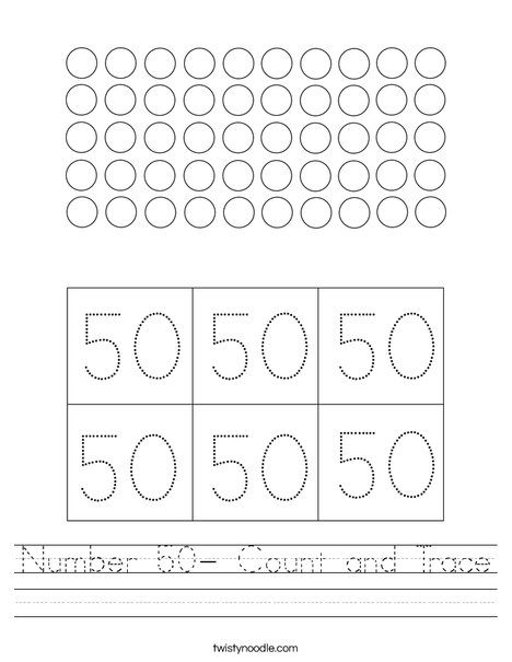 Number 50- Count and Trace Worksheet