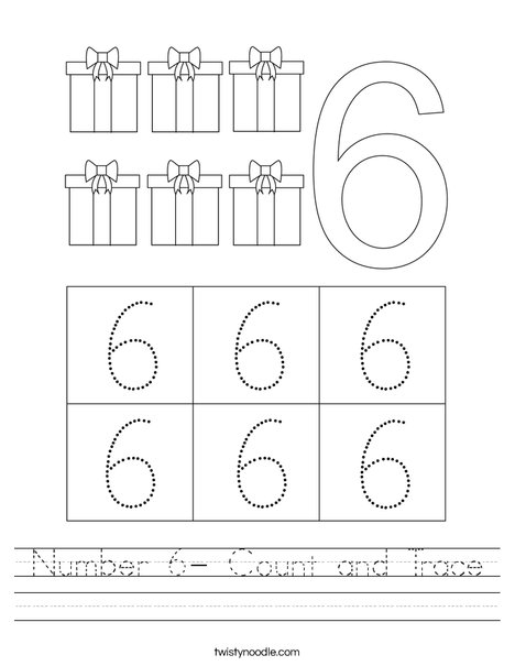 Number 6- Count and Trace Worksheet