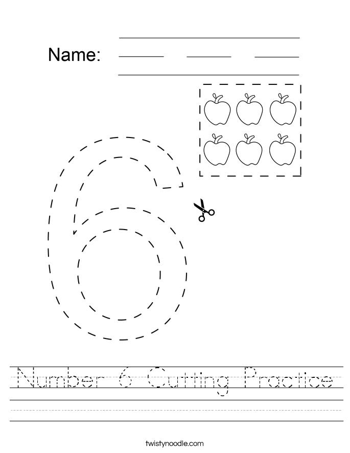 Number 6 Cutting Practice Worksheet