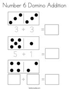 Number 6 Domino Addition Coloring Page