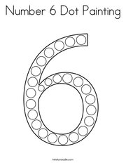 Number 6 Dot Painting Coloring Page