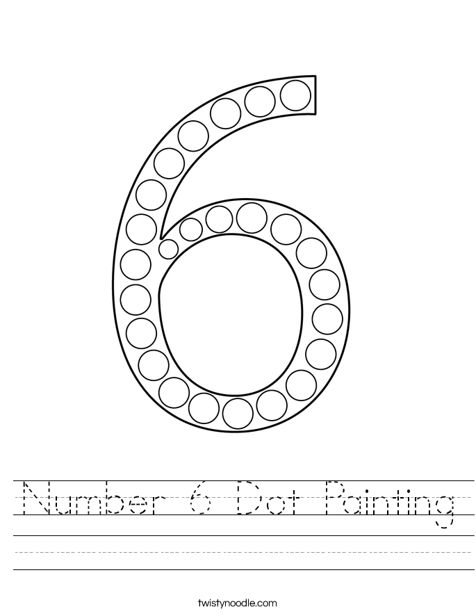 Number 6 Dot Painting Worksheet