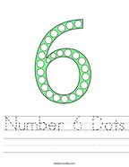 Number 6 Dots Handwriting Sheet