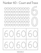 Number 60- Count and Trace Coloring Page