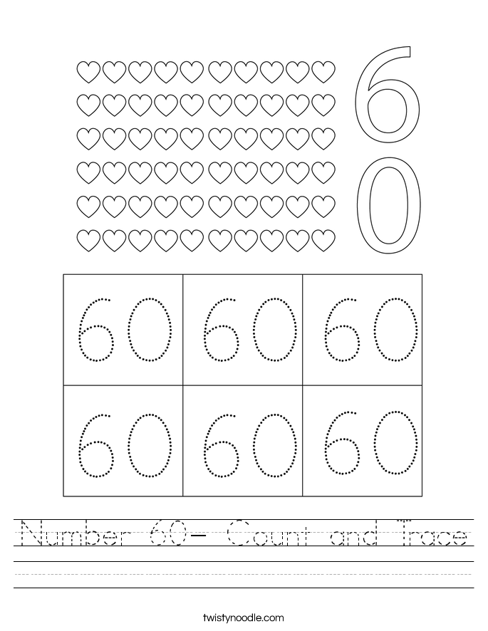 Number 60- Count and Trace Worksheet