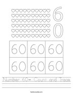 Number 60- Count and Trace Handwriting Sheet