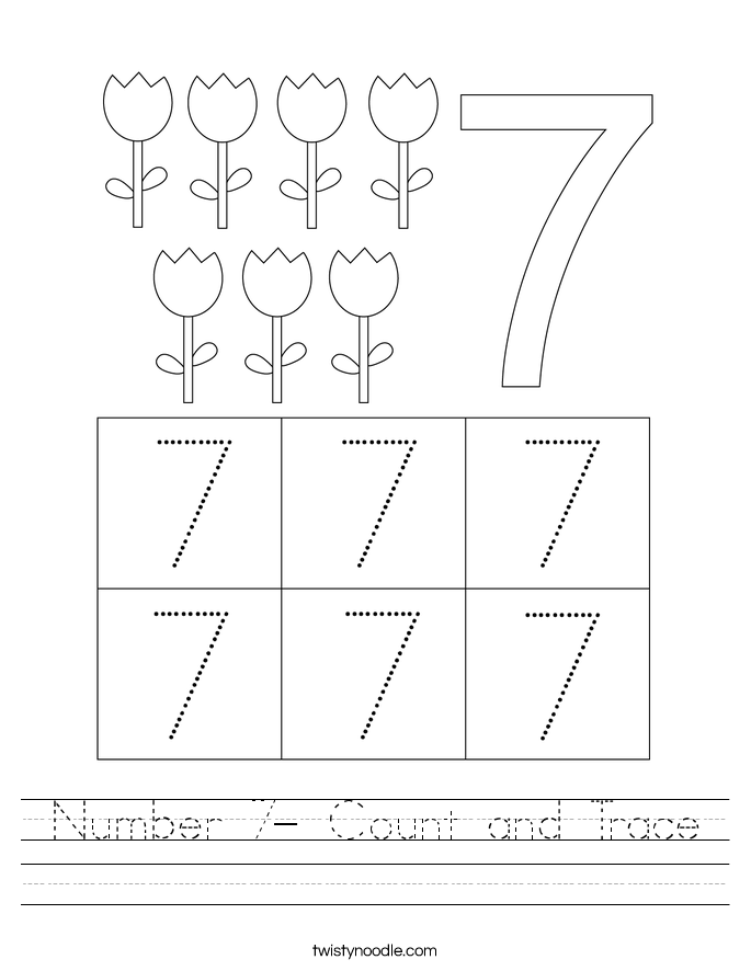 Number 7- Count and Trace Worksheet