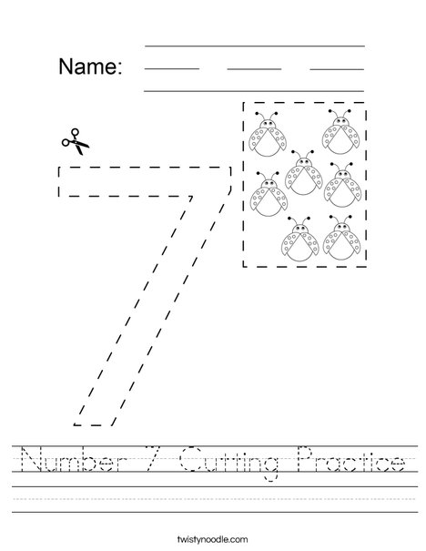 Number 7 Cutting Practice Worksheet