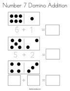 Number 7 Domino Addition Coloring Page