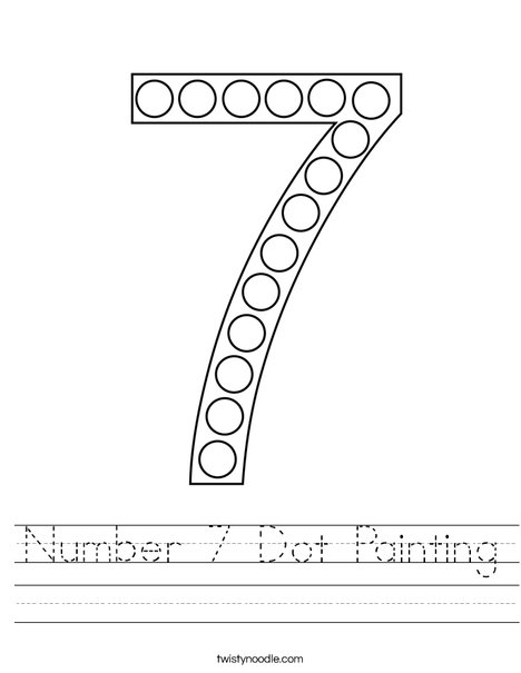 Number 7 Dot Painting Worksheet