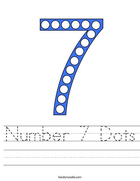 Number 7 Dots Worksheet