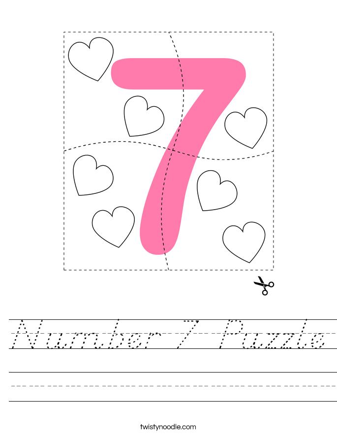 Number 7 Puzzle Worksheet