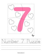 Number 7 Puzzle Handwriting Sheet