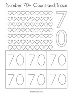 Number 70- Count and Trace Coloring Page