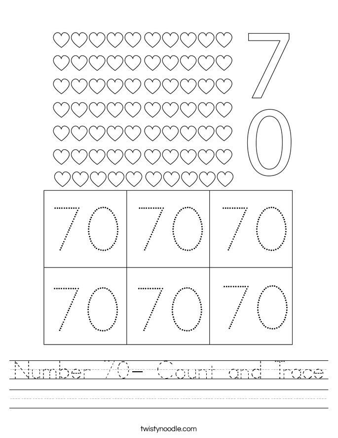 Number 70- Count and Trace Worksheet