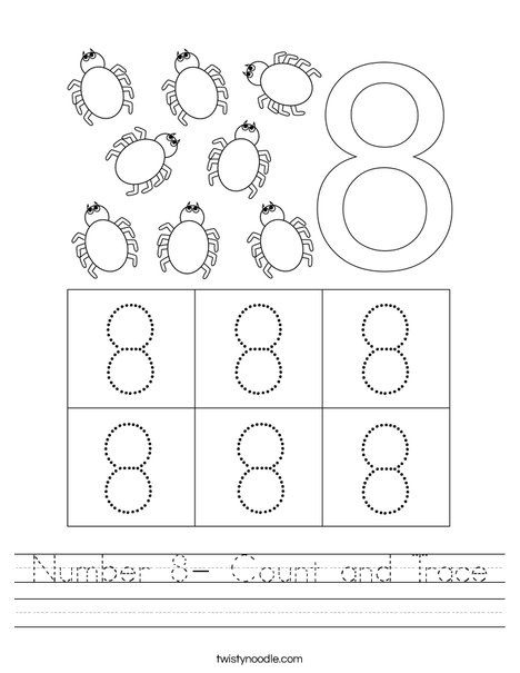 Number 8- Count and Trace Worksheet