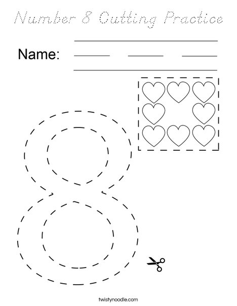 Number 8 Cutting Practice Coloring Page - D'Nealian ...