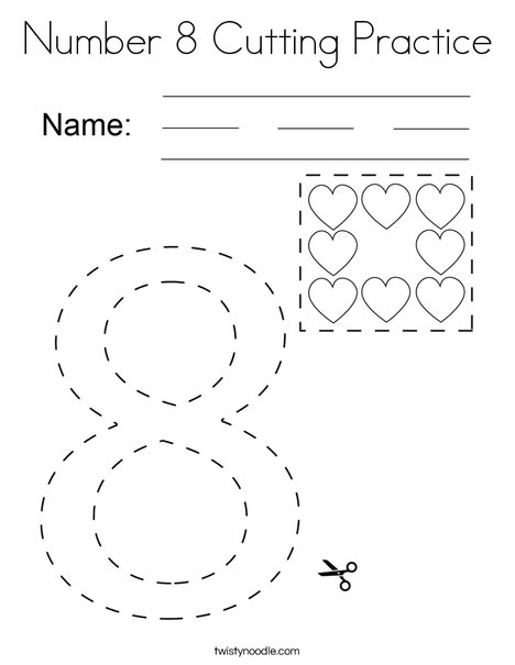 Number 8 Cutting Practice Coloring Page