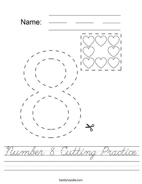 Number 8 Cutting Practice Worksheet