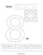 Number 8 Cutting Practice Handwriting Sheet
