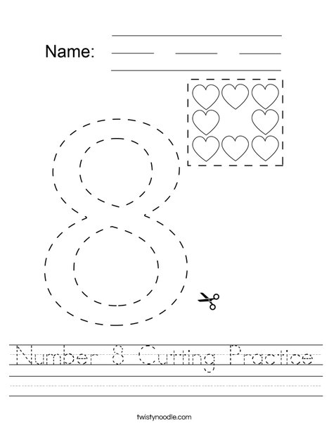 Number 8 Cutting Practice Worksheet