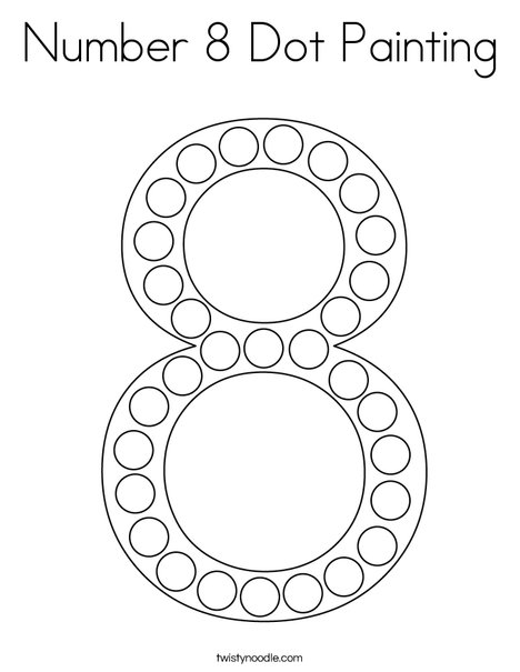 Number 8 Dot Painting Coloring Page