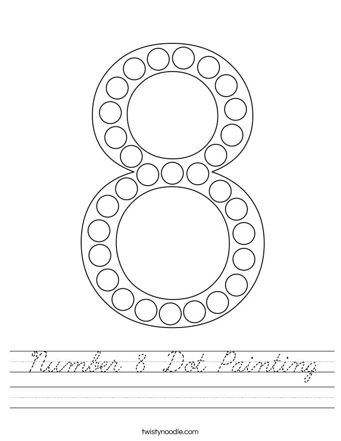 Number 8 Dot Painting Worksheet