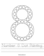 Number 8 Dot Painting Handwriting Sheet
