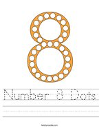 Number 8 Dots Handwriting Sheet