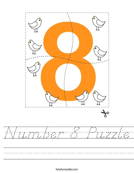 Number 8 Puzzle Worksheet - D'Nealian - Twisty Noodle