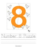 Number 8 Puzzle Handwriting Sheet