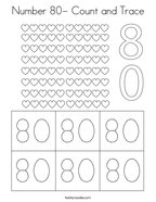 Number 80- Count and Trace Coloring Page