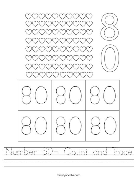 Number 80- Count and Trace Worksheet