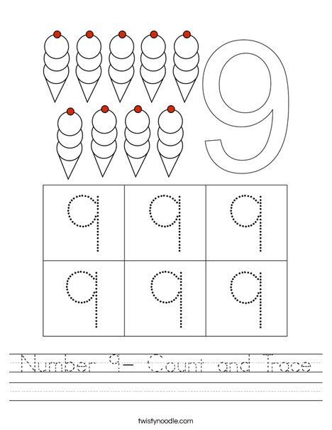 Number 9- Count and Trace Worksheet