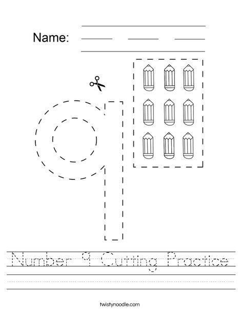 Number 9 Cutting Practice Worksheet