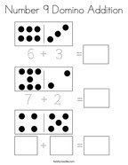 Number 9 Domino Addition Coloring Page