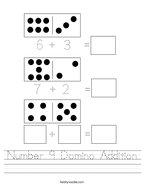 Number 9 Domino Addition Handwriting Sheet