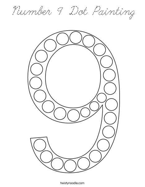 Number 9 Dot Painting Coloring Page