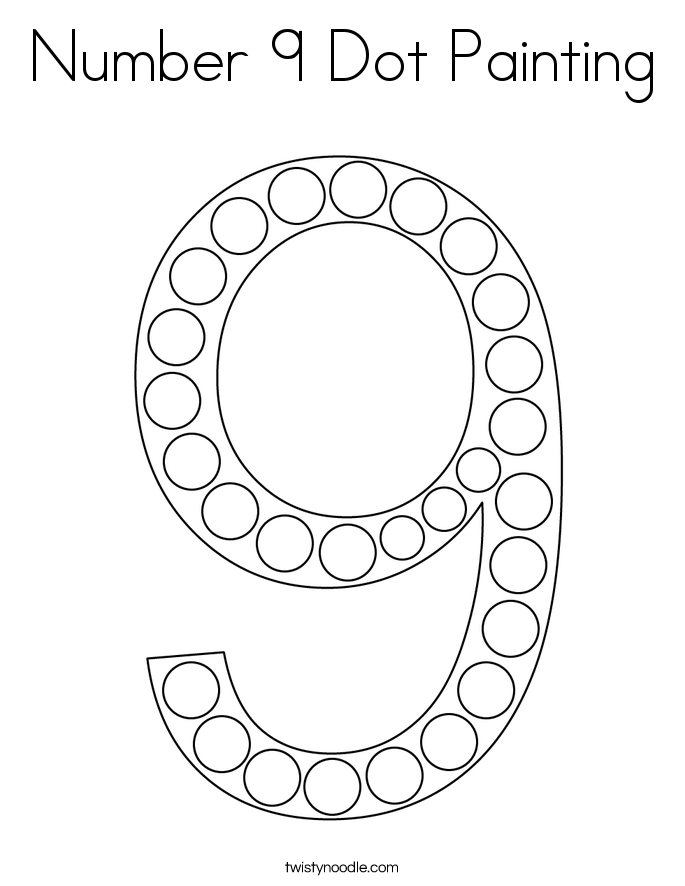 Number 9 Dot Painting Coloring Page - Twisty Noodle