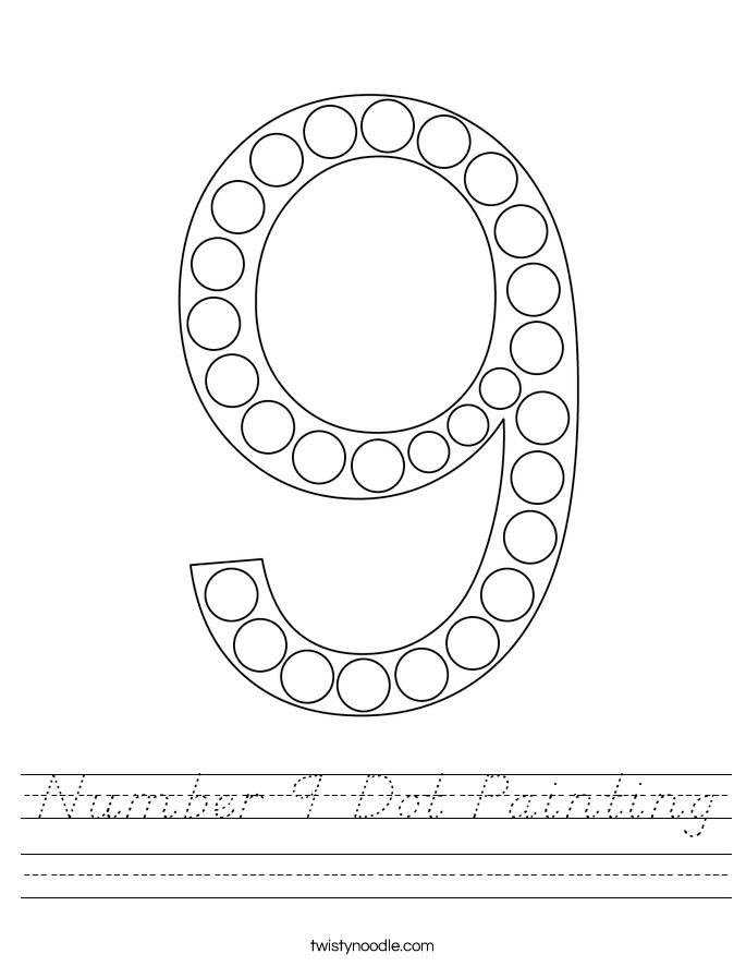 Number 9 Dot Painting Worksheet