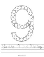 Number 9 Dot Painting Handwriting Sheet