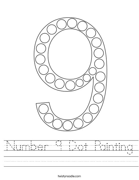 Number 9 Dot Painting Worksheet